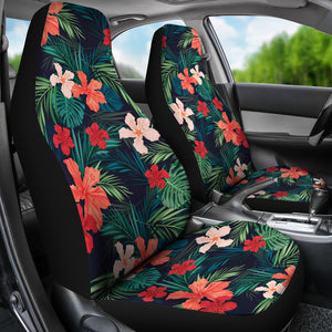 Matching Coral and Red Tropical Flower Pattern Car Seat Covers