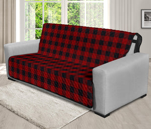 "Red and Black Buffalo Plaid 70"" Futon Sofa Cover Couch Protector Farmhouse Country Home Decor"