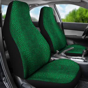 Green and Black Lizard Snake Skin Scales Car Seat Covers Seat Protectors