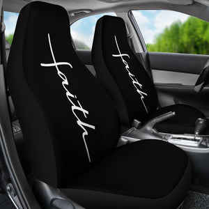 Faith Word Cross In White on Black Car Seat Covers Religious Christian Themed