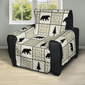 Yellow, Gray and Black, Bear and Plaid Pattern Recliner Slipcover Protector