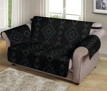 "Load image into Gallery viewer, Black With Gray Ethnic Tribal Pattern on 54"" Seat Width Loveseat Protector Sofa Slipcover"
