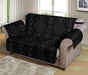 "Black With Gray Ethnic Tribal Pattern on 54"" Seat Width Loveseat Protector Sofa Slipcover"