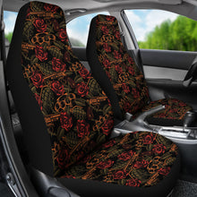 Load image into Gallery viewer, Roses With Grenades, Guns and Brass Knuckles Car Seat Covers Weapons Pattern Seat Protectors