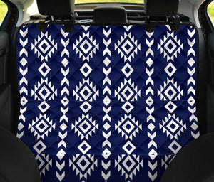 Navy and White Ethnic Tribal Pattern on Back Bench Seat Protector Cover For Pets