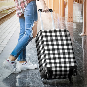 Black and White Buffalo Plaid Luggage Cover Suitcase Protector
