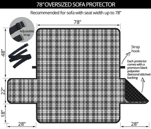 "Gray and White Plaid Pattern On 78"" Seat Width Oversized Sofa Protector Slipcover"