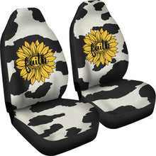 Load image into Gallery viewer, Cow Hide Design With Faith Sunflower Car Seat Covers