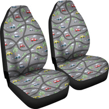 Load image into Gallery viewer, Gray Car Seat Covers With Roads and Cars