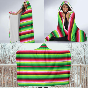 Bright Green and Red Serape Style Hooded Blanket