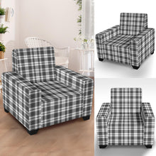 Load image into Gallery viewer, Gray and White Plaid Pattern Stretch Armchair Slipcover Protector