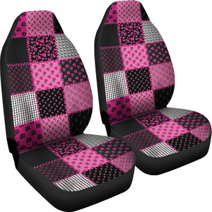 Pink and Black Shabby Chic Patchwork Quilt Style Car Seat Covers