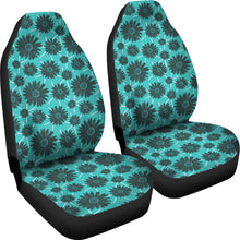 Load image into Gallery viewer, Teal With Gray Daisies Rustic Pattern Car Seat Covers