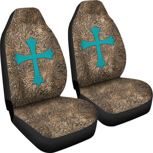 Brown Tooled Leather Design With Turquoise Suede Cross Printed Car Seat Covers Set
