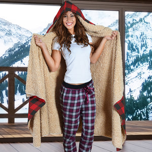 Warm & Cozy Red Buffalo Plaid Hooded Premium Sherpa Lined Blanket