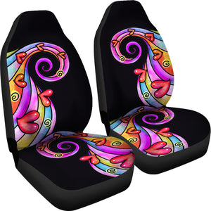 Colorful Abstract Swirls Car Seat Covers Set