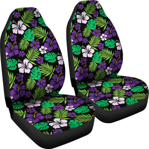 Purple and Green Hibiscus Flower Car Seat Covers Hawaiian Tropical Set of 2