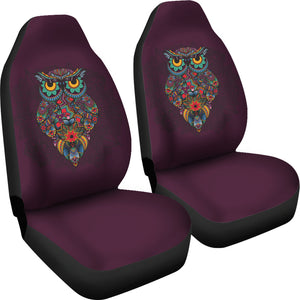 Dark Purple Ornate Owl Car Seat Covers
