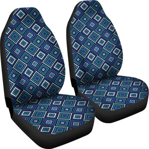 Blue, Teal and Black Geometric Boho Retro Pattern Seat Covers