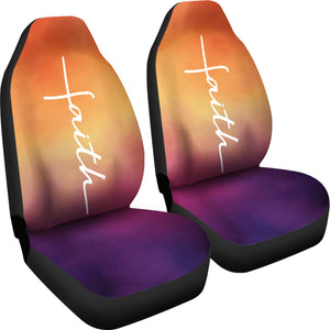 Faith Word Cross In White On Orange and Purple Ombre Car Seat Covers Religious Christian Themed