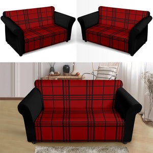 Red and Black Plaid Color Block Stretch Loveseat Sofa Slipcover Protector