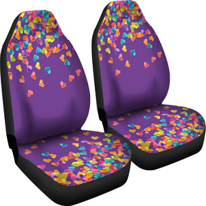 Heart Confetti Car Seat Covers Seat Protectors on Purple Background