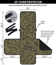 "Load image into Gallery viewer, Camo Chair Cover Protector Green, Gray and Brown Camouflage 23"" Seat Width"