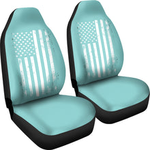 Load image into Gallery viewer, Teal With Distressed American Flag Car Seat Covers Set