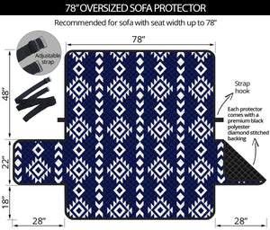"Navy Blue and White Ethnic Tribal Pattern 70"" Oversized Sofa Protector Couch Slipcover"