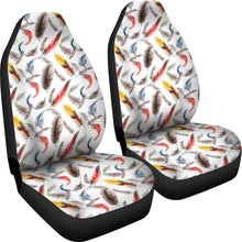 Load image into Gallery viewer, White With Watercolor Feathers Boho Car Seat Covers