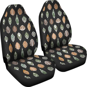 Ethnic Leaves Patter on Black Car Seat Covers Set of 2