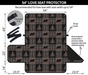 Brown and Black Plaid Lodge Style Patchwork Pattern Loveseat Sofa Slipcover Protector