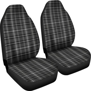Dark Gray and White Plaid Car Seat Covers Seat Protectors Set