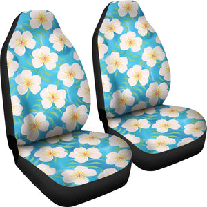 Blue Water With Plumeria Hawaiian Flower Pattern Island Car Seat Covers