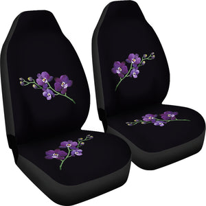 Black With Purple Orchids Car Seat Covers