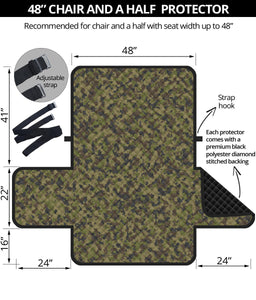 "Camo Chair and a Half Protector Cover in Green, Brown and Gray, Camouflage 48"" Seat Width"