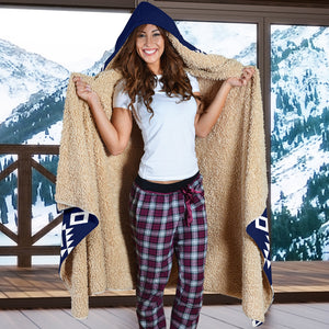 Navy Blue With White Ethnic Tribal Pattern Hooded Blanket With Sherpa Lining