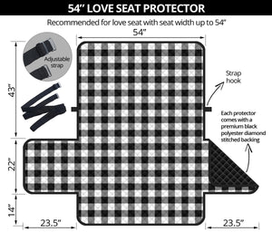 "Black White Buffalo Plaid 54"" Loveseat Sofa Couch Cover Protector Farmhouse Home Decor"