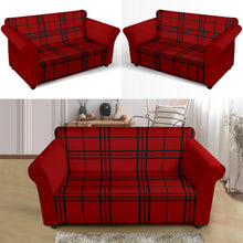 Load image into Gallery viewer, Red and Black Plaid Color Block Stretch Loveseat Sofa Slipcover Protector