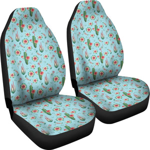 Blue With Cactus Car Seat Covers