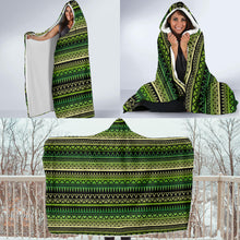 Load image into Gallery viewer, Green With Black Ethnic Tribal Pattern Hooded Blanket