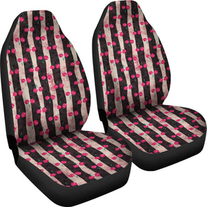 Pink and Black Stripes and Cherries Pattern Car Seat Covers
