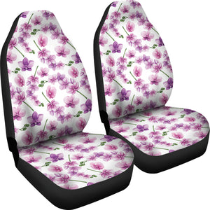 White With Pink and Purple Orchid Pattern Car Seat Covers