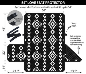 "Black and White Ethnic Tribal Pattern 54"" Loveseat Sofa Protector Couch Slipcover"