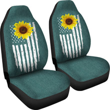 Load image into Gallery viewer, Distressed American Flag With Rustic Sunflower on Teal Faux Denim Style Car Seat Covers