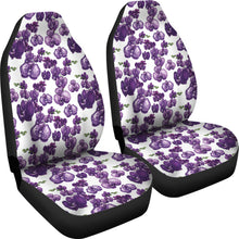 Load image into Gallery viewer, White and Purple Orchid Flower Pattern Car Seat Covers
