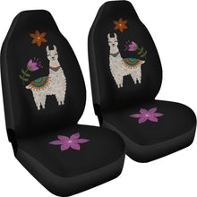 Load image into Gallery viewer, Llama Seat Covers Chalky Style Black Flowers Car Seat Covers