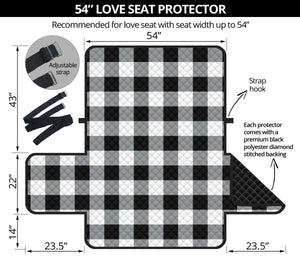 "Buffalo Check Loveseat Slipcover Protector 54"" Seat Width Black, White and Gray"