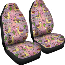 Load image into Gallery viewer, Pink Llama and Cactus Car Seat Covers Boho Seat Protectors