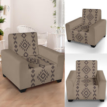 "Load image into Gallery viewer, Light and Dark Brown Tribal Ethic Pattern Stretch Armchair Cover With Elastic Edge Fits Up To 43"" Chairs"